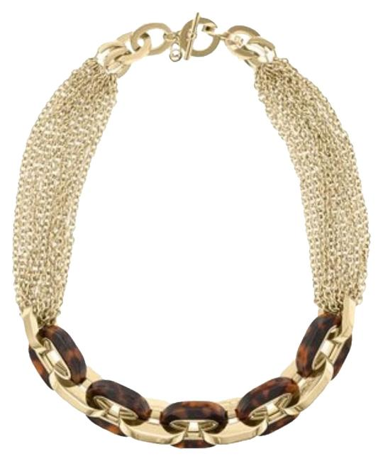 Item - Gold Brown W Multichain Tortoise Print Toggle Dust Bag Necklace
