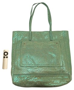 MILLY Pebbled Leather Outside Pocket Tote in Metallic Blue