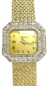 Longines LONGINES Vintage 14 Karat Yellow Gold Watch With 2 Ct.Tw. Diamonds Mechanical Movement