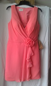 Coral Watermelon Chiffon A-line V-neck Knee-length Destination Bridesmaid/Mob Dress Size 14 (L)