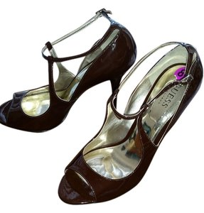 Guess High Heel Open Toe Brown Patent Pumps