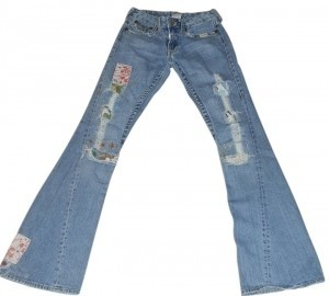 True Religion Patchwork Worn 70's Look Flare Leg Jeans-Distressed