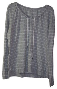 Merona T Shirt Gray/White Stripes