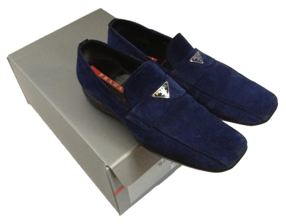 97dcf2eb9a7 Prada Suede Suede Navy Cobalt Sport Sole Comfortable Loafer Stylish Style  Trend Trendy Logo Red Stripe ...