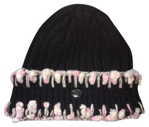 Chanel Chanel Black Cashmere Knit Cap Hat