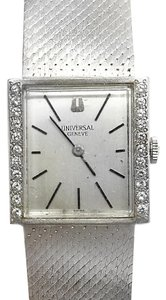 Geneve Universal GENEVE 14 Karat White Gold Watch With 22 Diamonds