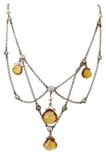 Festoon Diamond Briolette Citrine Pearl Gold Necklace