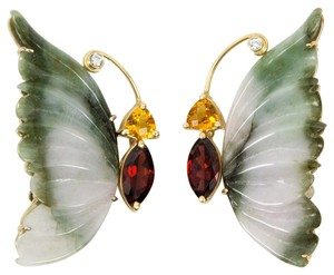 Jade Garnet Citrine Diamond Butterfly Brooches