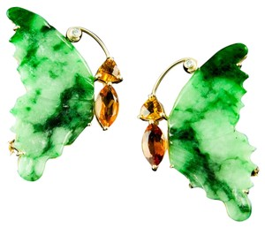 Jade Diamond Citrine Butterfly Brooches