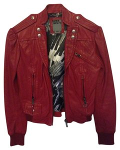 Miss Sixty Moto Motorcycle Vintage Red Leather Jacket