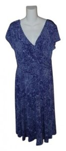 New York & Company short dress Purple Print Faux Wrap In on Tradesy