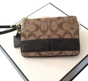 Coach Brown Tan And Gold Clutch