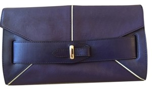 Pour La Victoire Leather Dark Royal Blue/White Piping Clutch