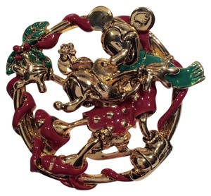 Disney Vintage Disney Mickey & Minnie Christmas Wreath Brooch