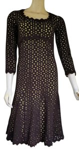 Sara Campbell short dress Brown Laser Cut Wool Lime Green Lined on Tradesy