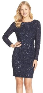 Adrianna Papell Long Sleeve Beaded Mesh Sheath Dress