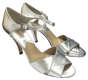 Michael Kors Collection Leather Criss Cross Ankle Strap Silver Sandals