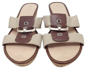 Nine West Wedge Buckle Brown and Beige Sandals