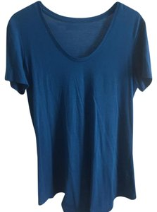 Helmut Lang Modal Stretch Scoop Made In Usa T Shirt Blue