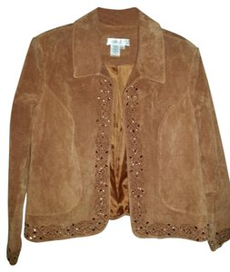 Coldwater Creek Suede Leather Studded Coat Golden Brown Leather Jacket