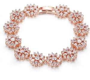 Rose Gold Plated Brilliant Cz Bracelet