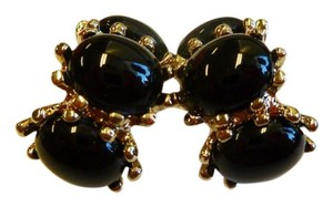 St. John ST. JOHN BLACK CABOCHON EARRINGS GOLD CLIP ON SIGNED RARE 22KGP