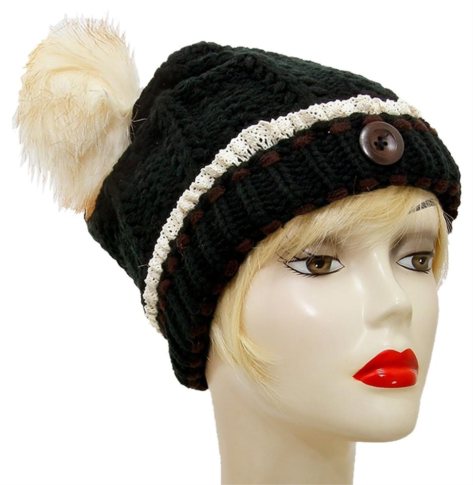 0bc15afee54 Other Black Knitted Lace Trim Buttoned and Fur Pom Pom Accent Beanie Winter  Hat Cap Head ...