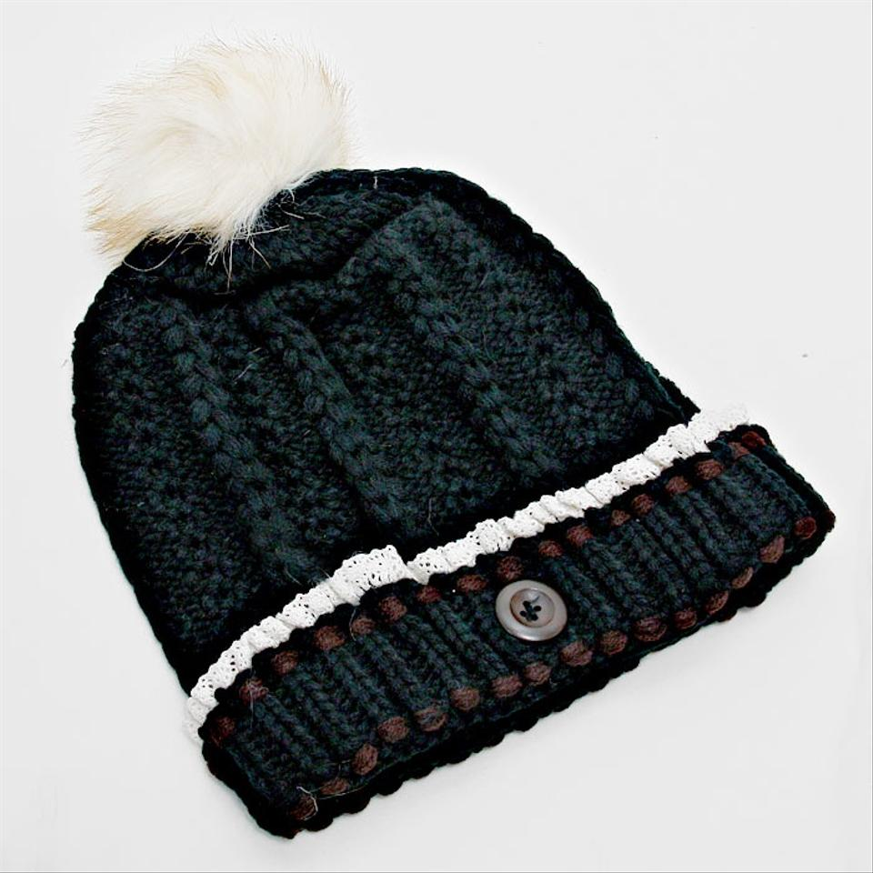 aa724b96879 Other Black Knitted Lace Trim Buttoned and Fur Pom Pom Accent Beanie Winter  Hat Cap Head. 12