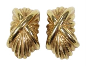 St. John VINTAGE 80's ST. JOHN KNITS EARRINGS 22KGOLD PLEATED SIGNED CLIP-ON
