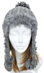 Other Knitted Fur Trimmed Gray Beanie Winter Hat With Pom Pom and Earwarmers Earflaps
