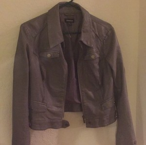 bebe Gray Leather Jacket