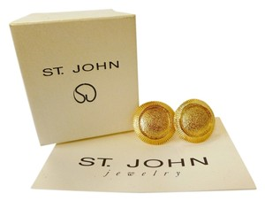 St. John ST. JOHN 22K GOLD ELECTROPLATED BUTTON CUFF LINKS WITH TEXTURE TRIM CLASSIC