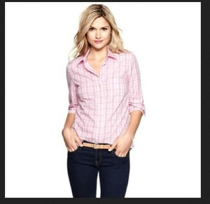 Gap Button Down Shirt Pink Checks
