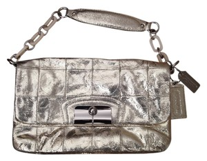 Coach Metallic Silver Hard Leather Style # 14217 Gold Metallic Clutch