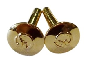 St. John ST. JOHN 22K ELECTROPLATED GOLD CIRCLE CUFF LINKS WITH STAMPED LOGO SMALL