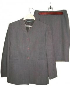 Elie Tahari Brown Pinstriped Slimming Skirt Suit