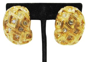 St. John ST. JOHN KNITS VINTAGE GOLD EARRINGS CLIP-ON SWAROVSKI CRYSTALS SIGNED