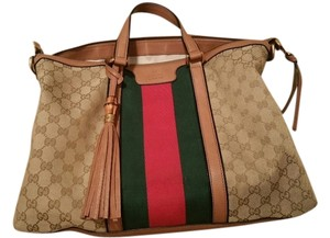 Gucci Tote in Beige GG Canvas with Red and Green logo strips