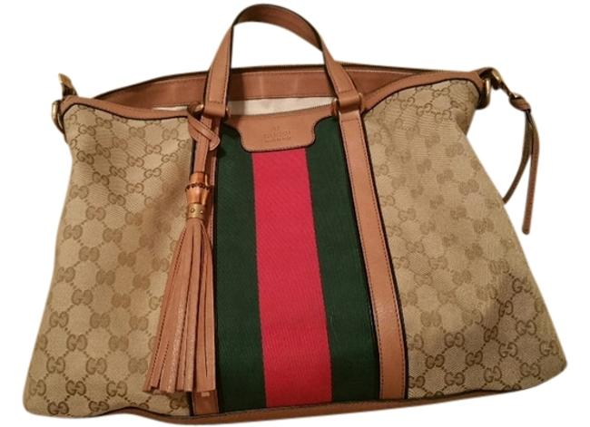 Item - Rania Beige Gg Canvas with Red and Green Logo Strips Tote