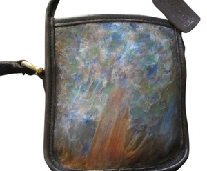 Coach Vintage Leather Leather Hand Painted Black Leather Camera Abstract Tree Artist Signed Design Acrylic Paint Unique Cross Body Bag