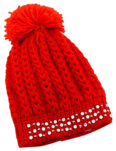 Red Knitted Crystal Studded Pom Pom Beanie Winter Hat