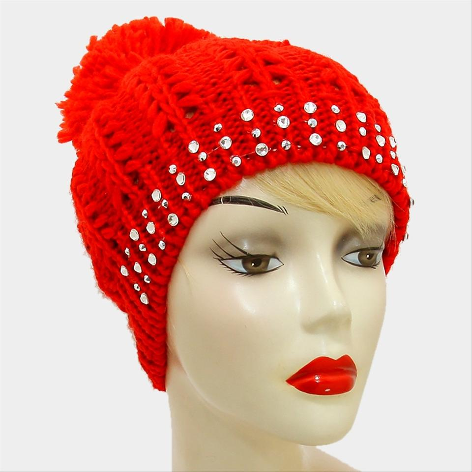 20ffb4863 Red Knitted Crystal Studded Pom Pom Beanie Winter Hat