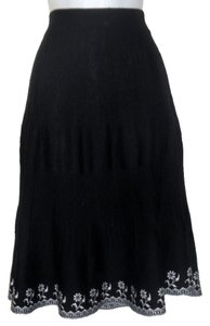 Lapis Embroidered Knit Soft Chic Acrylic Skirt Black