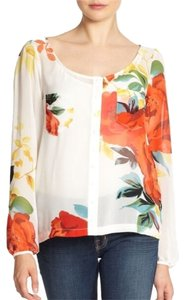 Patterson J. Kincaid Floral Sheer Top Ivory Multi