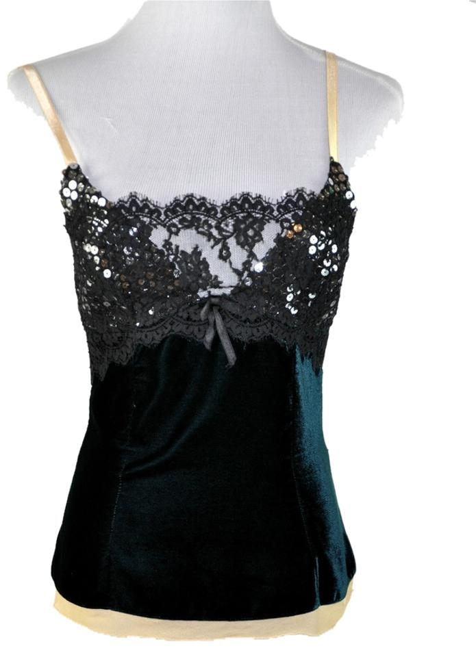 ff59581e Top Dolce&Gabbana Green Velvet Black Lace with Sequin Camisole Tank RK04