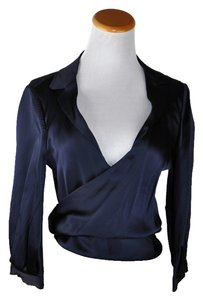 Louis Vuitton Made In France Satin Wrap Around Top Blue