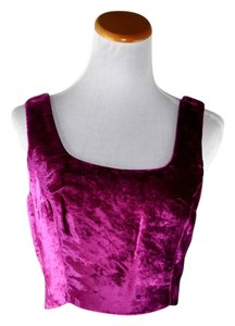 Marchesa Voyage Vintage Cropped Velvet Top Hot Pink