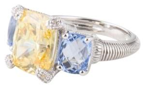 Judith Ripka NEW! JUDITH RIPKA Sterling Silver Canary Crystal And Blue Quartz Ring