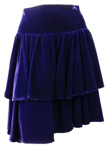 Ralph Lauren Ruffle Layered Flair Velvet Skirt Purple