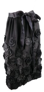 Oscar de la Renta Floral Applique Embellished Pleated Skirt Black